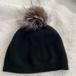 Portolano Cashmere Black Beanie Hat Fox Fur Pom